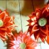 Хризантема з атласних стрічок майстер клас своїми руками